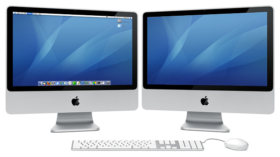 Mockup of dual-screen iMac