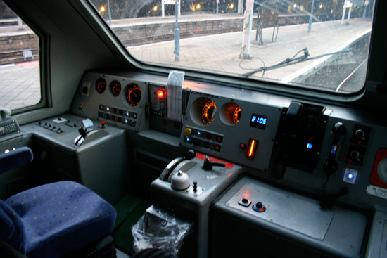 Inside the cab of the power car